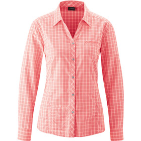 Maier Sports Jara LS Blouse Women, red/white check